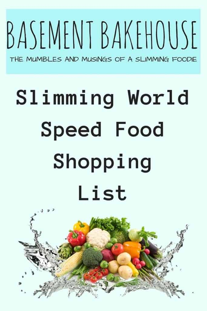 Speed food shopping list basement bakehouse One you slimming world