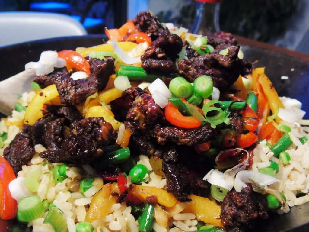 Crispy Chilli & Garlic Shredded Beef with Syn Free Egg Fried Rice