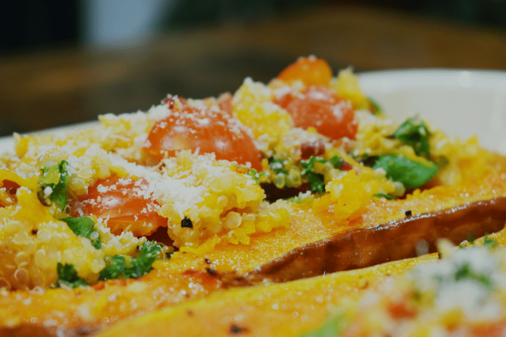 Syn Free Stuffed Butternut Squash with Quinoa, Spinach, Tomatoes, Parsley and Parmesan - Slimming World - Recipe - Vegetarian - Healthy - Stuffed- Butternut - Squash - Syn - Free