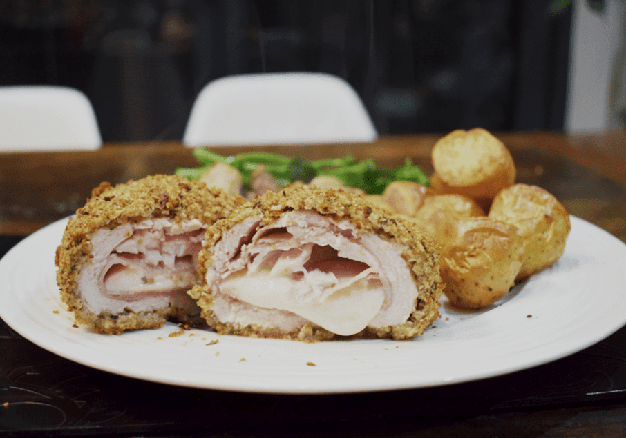 Syn Free Breaded Chicken Escalope Stuffed with Ham and Cheese