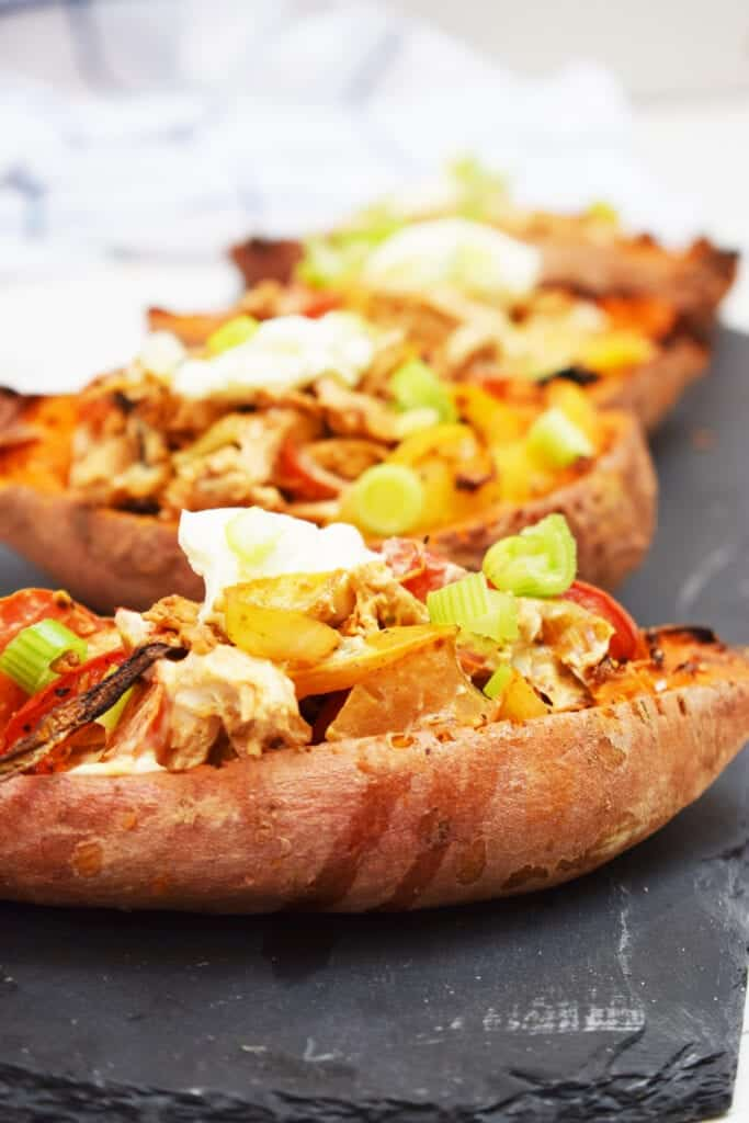 Creamy Cajun Stuffed Sweet Potato Skins - Stuffed Sweet Potato Skins - Cajun - Peppers - Baked - Sweet Potatoes - Recipe - Slimming World - Syn Free - Healthy Extra A