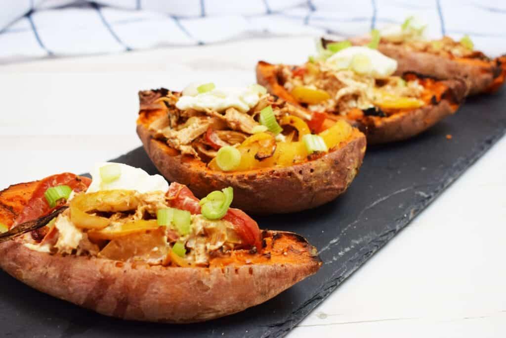 Creamy Cajun Stuffed Sweet Potato Skins - Stuffed Sweet Potato Skins - Cajun - Peppers - Baked - Sweet Potatoes - Recipe - Slimming World - Syn Free - Healthy Extra A