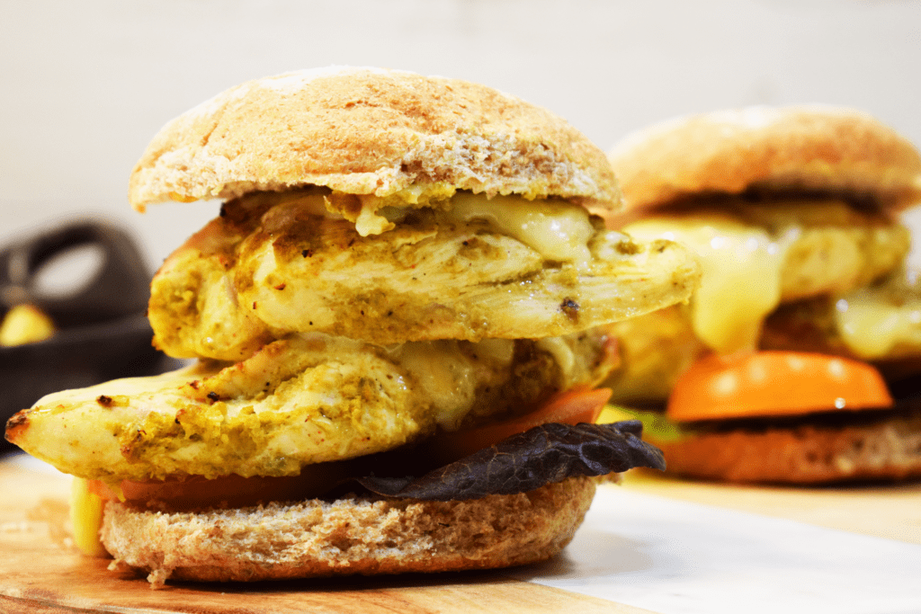 Syn Free - Cajun Spiced Chicken Burger - with - Homemade - 3 Ingredient - Cajun Marinade