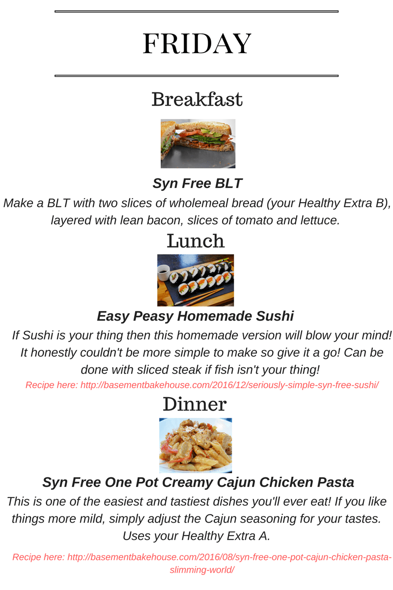 Seven day slimming world meal plan basement bakehouse One you slimming world