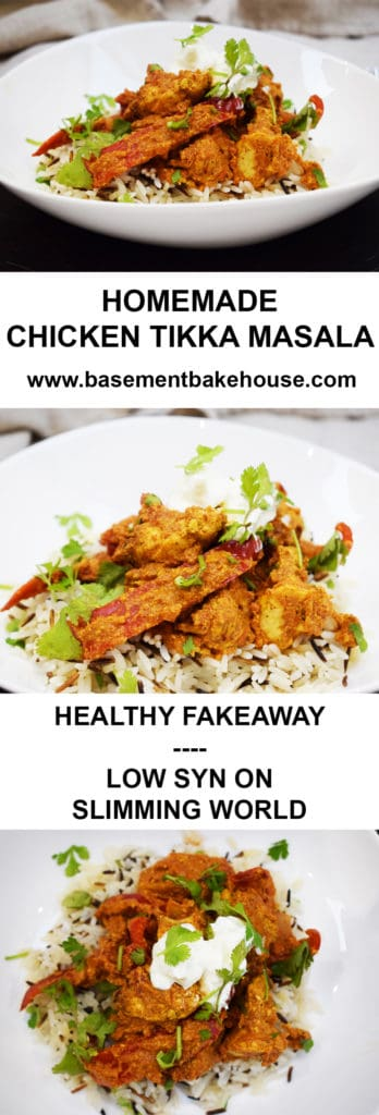 Homemade Healthy Chicken Tikka Masala! A delicious and simple homemade chicken curry recipe, syn free on Slimming World! The perfect healthy 'Fakeaway' recipe!