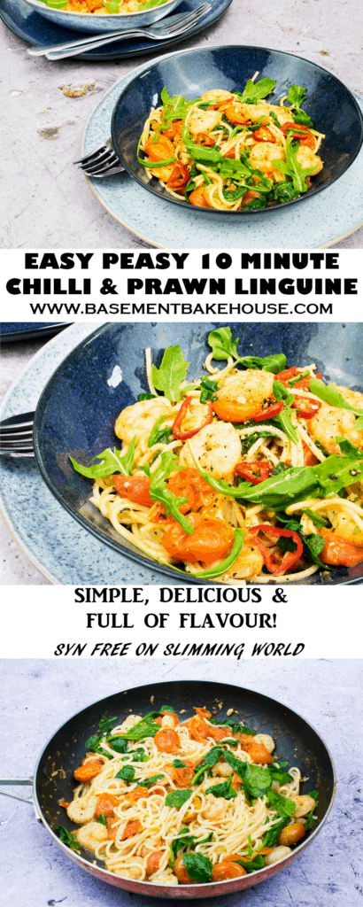Make this super simple, delicious Chilli and Prawn Linguine recipe tonight! This easy pasta dish makes the perfect mid-week dinner, quick recipe for an evening in with friends or satisfying feast for one! Syn free on Slimming World too!