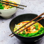 Healthy Malaysian Laksa Soup with Grilled Prawns & Tenderstem®