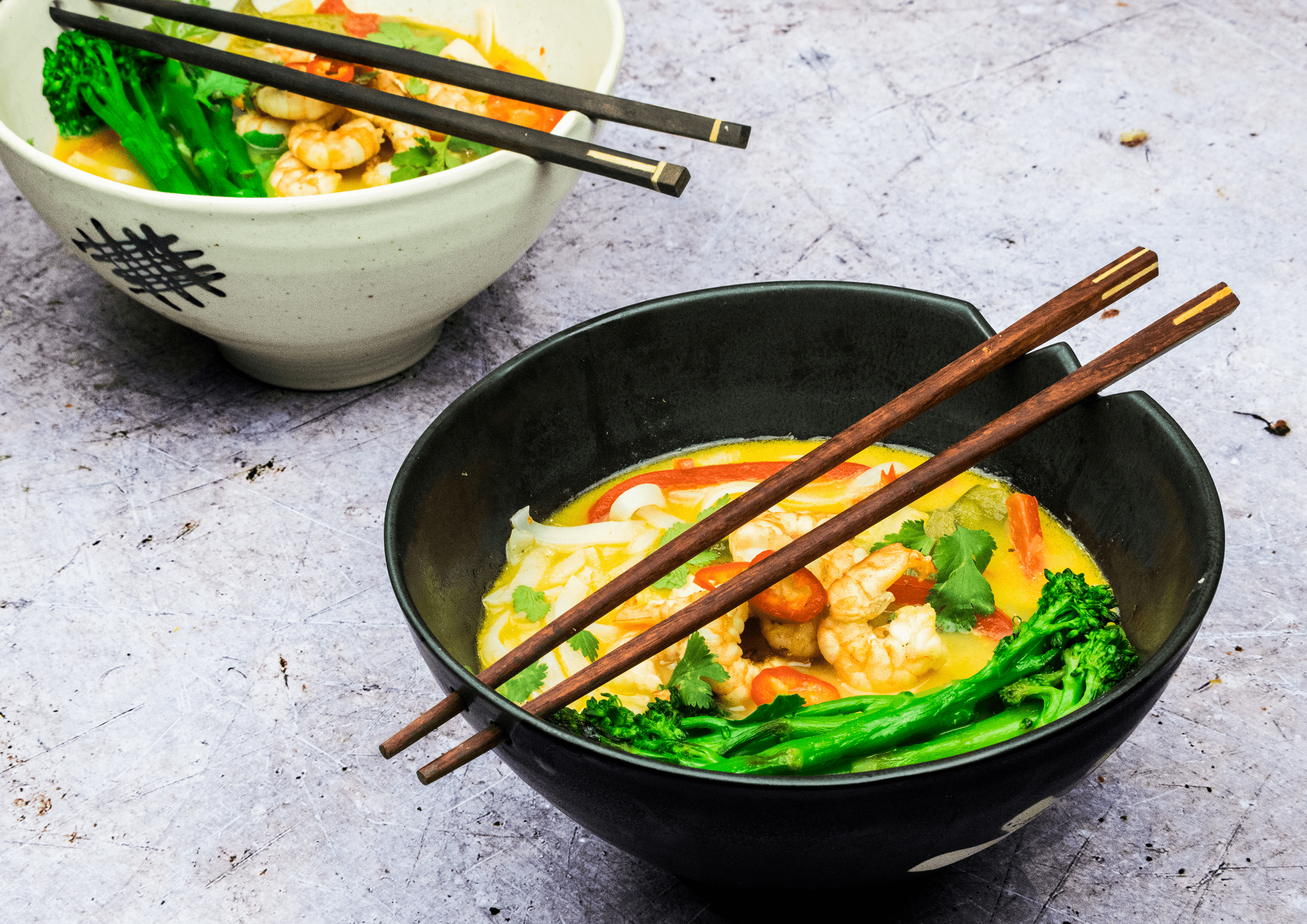 Spicy Malaysian Laksa Soup With Grilled Prawns Tenderstem Broccoli