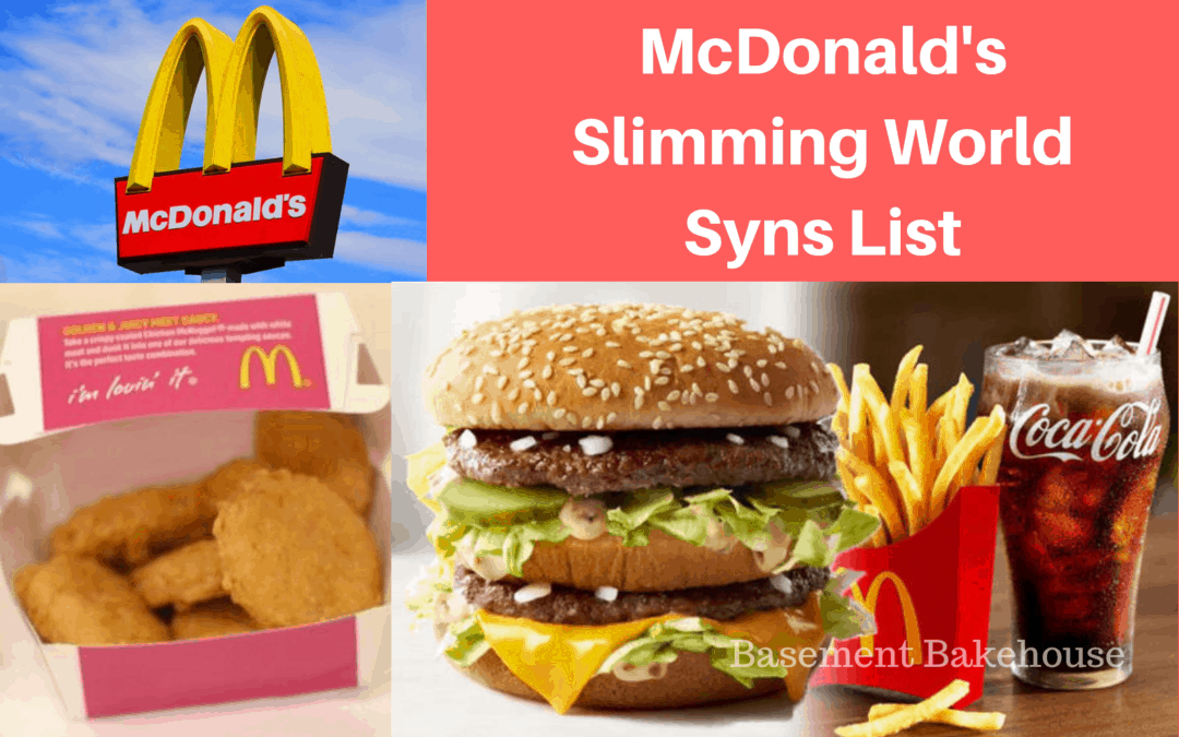 McDonald's Slimming World - syns list - fast food