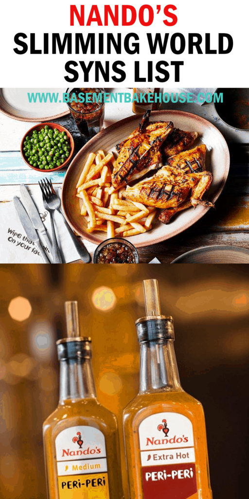 NANDOS SYNS LIST FOR SLIMMING WORLD - list of syns for Nandos menu items, sauces and seasonings. Perfect for eating out on Slimming World or when using Nandos products to cook at home.