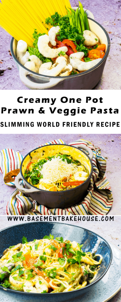 This syn free, healthy pasta recipe is a one pot easy meal to make for the whole family! The perfect Slimming World friendly lunch or dinner made with creamy goats cheese. Perfectly creamy sauce and packed with lots of vegetables and healthy prawns.