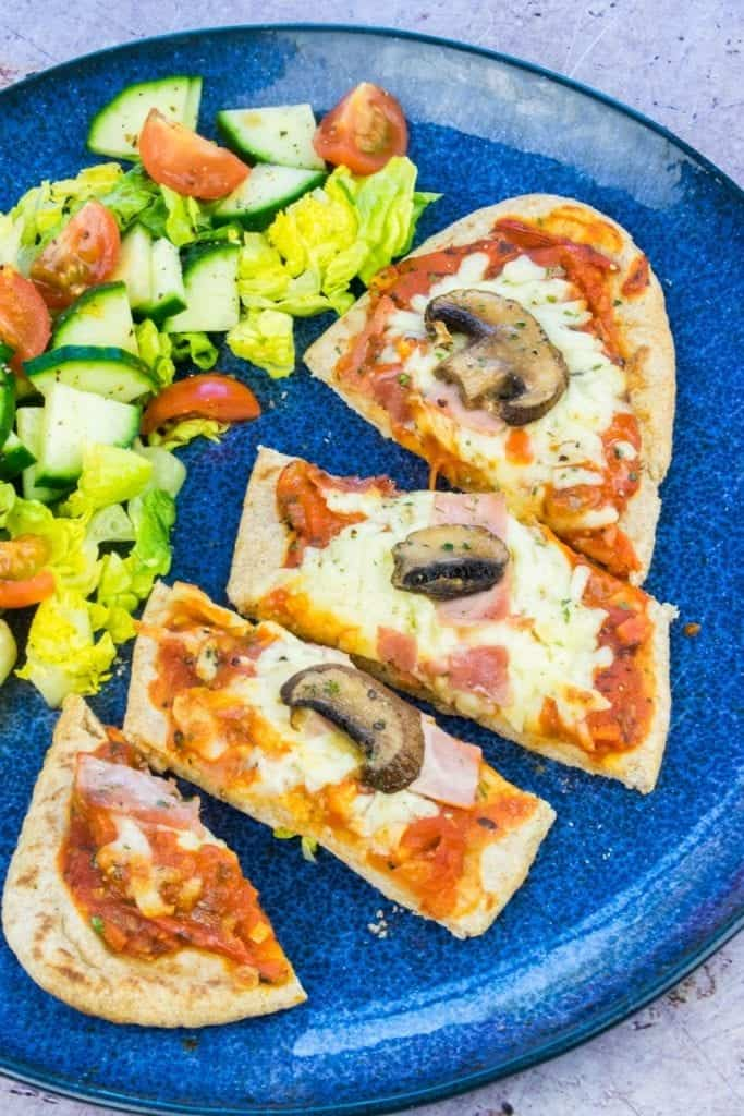 Syn Free Ham & Mushroom Pitta Pizza Slimming World Finished