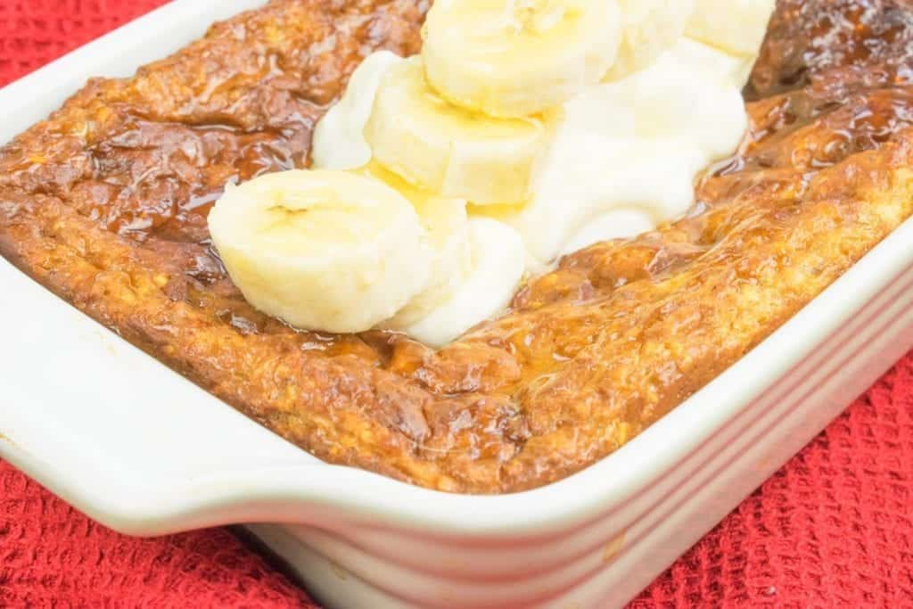 Low Syn Honey & Banana Baked Oats Recipe for a tasty Slimming World Breakfast