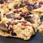 Healthy No Bake Cranberry & Chocolate Breakfast Bars