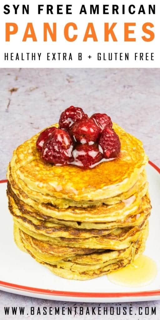 The most fluffy, delicious Syn Free American Pancakes you'll ever make on Slimming World using your Healthy Extra B! The perfect Slimming World breakfast or brunch recipe for the whole family. Gluten free, serves two.