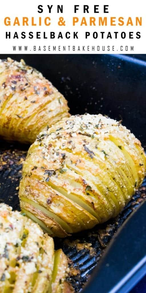 SYN FREE GARLIC & PARMESAN HASSELBACK POTATOES - the perfect Slimming World roast potatoes to be served with any lunch or dinner recipe.