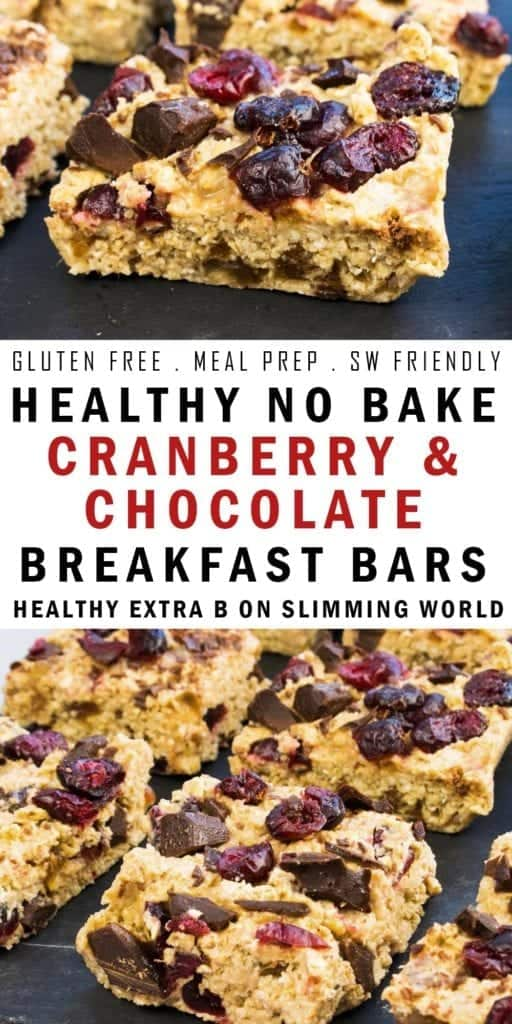 Gluten free healthy no bake breakfast bars, made with cranberries and dark chocolate and naturally sweetened with honey. Can be used as half of your Healthy Extra B on Slimming World plus 2.5 syns. They perfect meal prep and Slimming World breakfast recipe. Dairy free if made using a dairy free chocolate.
