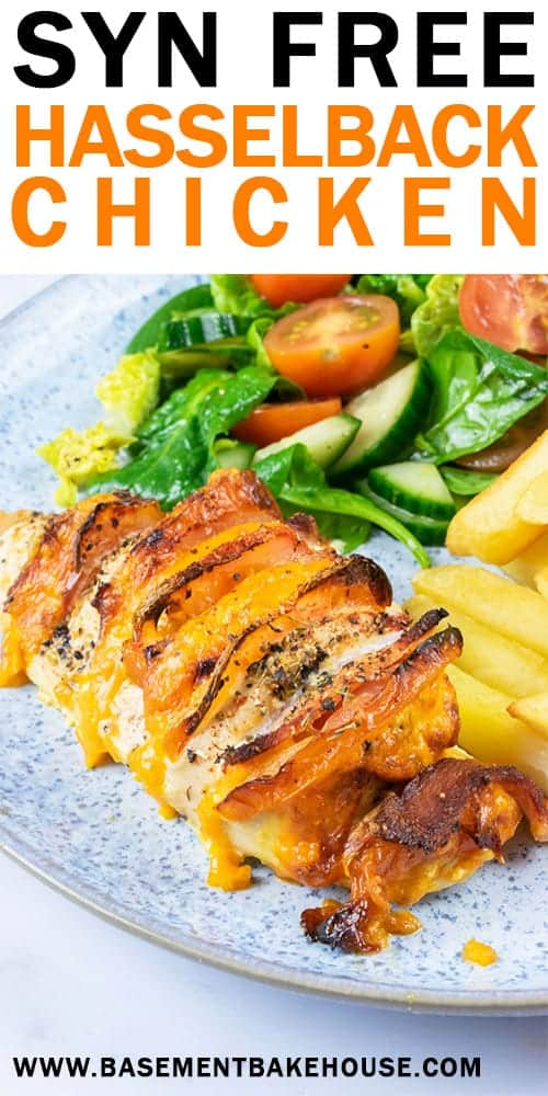 This Syn Free Hasselback Chicken is the perfect Slimming World family dinner recipe! Tender chicken, melted cheese, crispy bacon and juicy tomato come together in a delicious syn free chicken recipe.