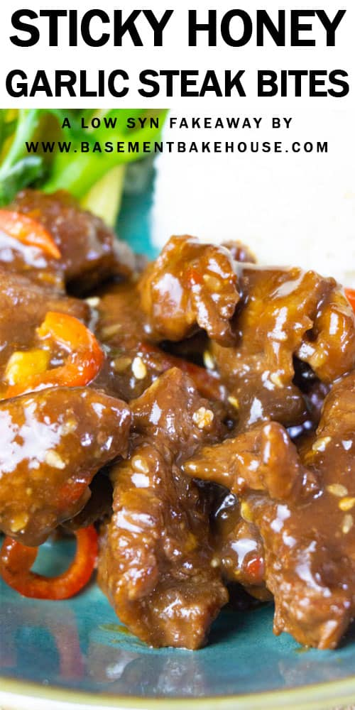 This LOW SYN Fakeaway recipe for Sticky Honey Garlic Steak Bites is the healthy, Slimming World dinner recipe you've been waiting for! With tender, juicy chunks of steak covered in a smooth, sticky, low syn sauce, it's perfect with rice, noodles or vegetables! It's a healthy Fakeaway that the whole family will love.